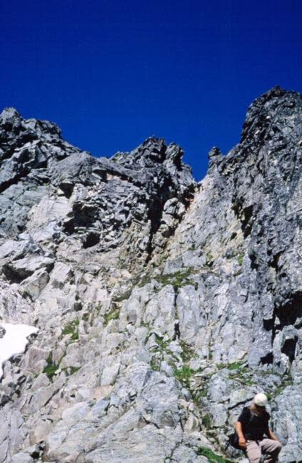 Descending the crux gully on...