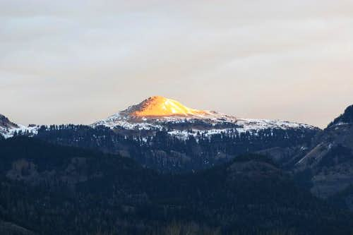 A sunset view of Summit Peak...