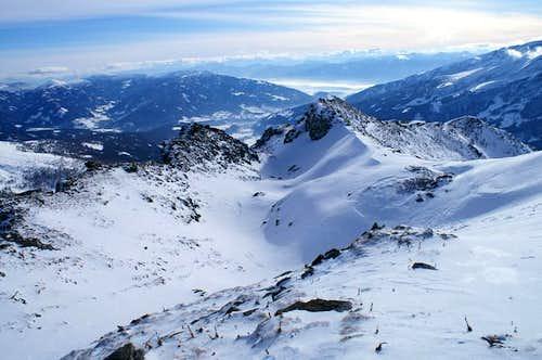 20 meters below the summit