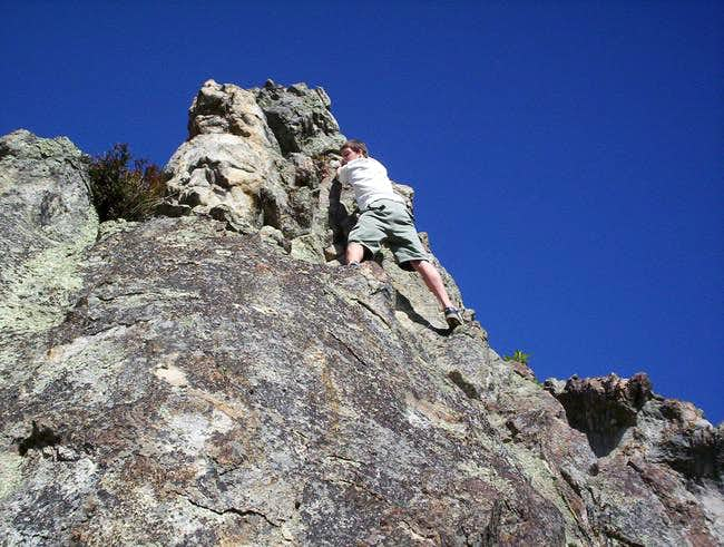 Rad, climbing the east face...