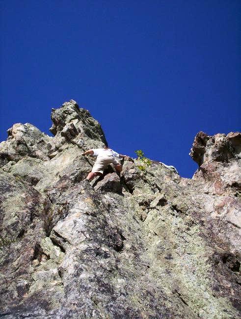 David Alexander climbing the...