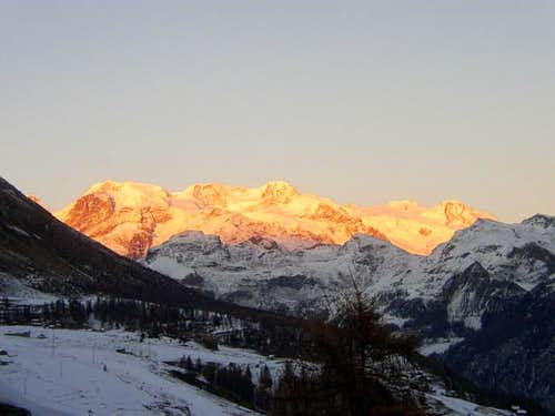 Monterosa on sunset, appear...