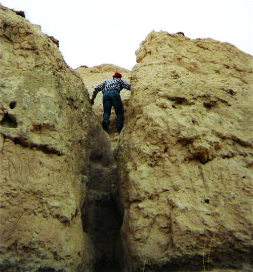 Ascending the heavily eroded...
