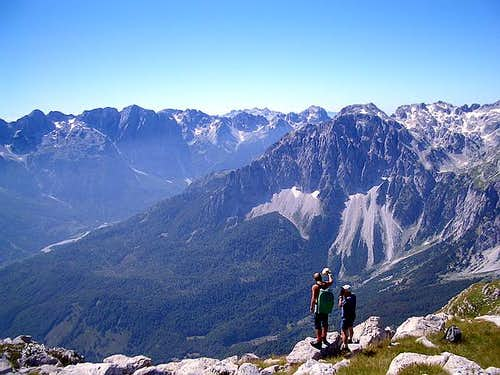 View to Valbona Valley and Maja Briasit