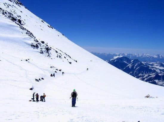 The saddle on Elbrus, looking...