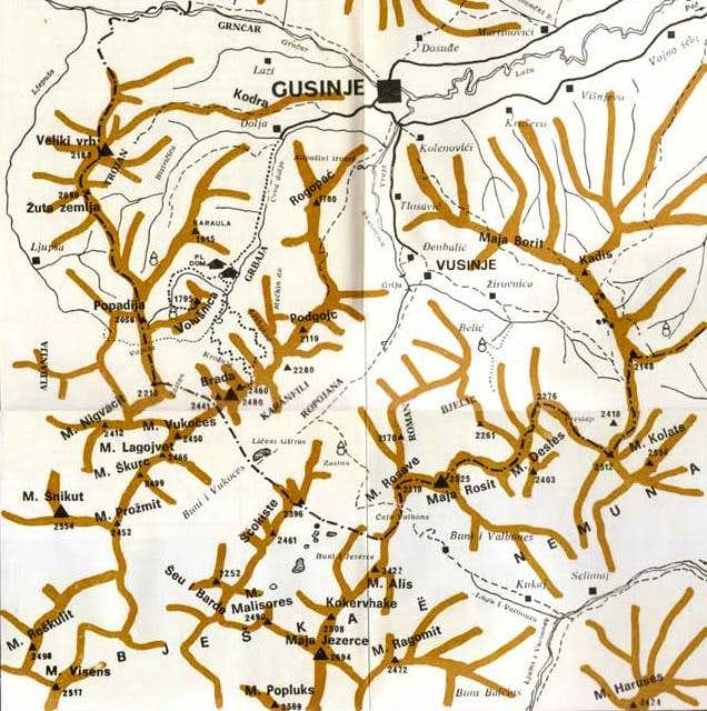 Map of Prokletije massif....