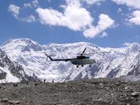 Helicopter arrives at Khan Tengri and Pik Pobeda s base camp