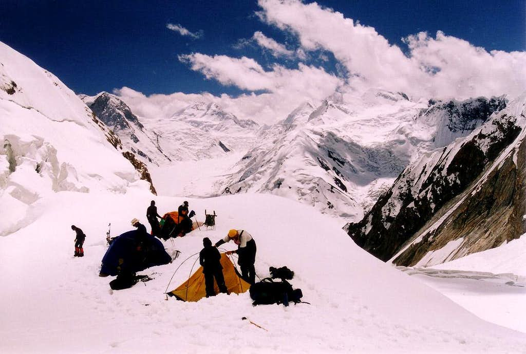 Make shift high camp 1 on the classic southern route of Khan Tengri