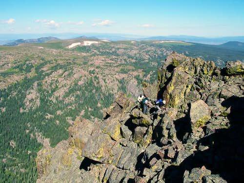 The group rounding the ridge...
