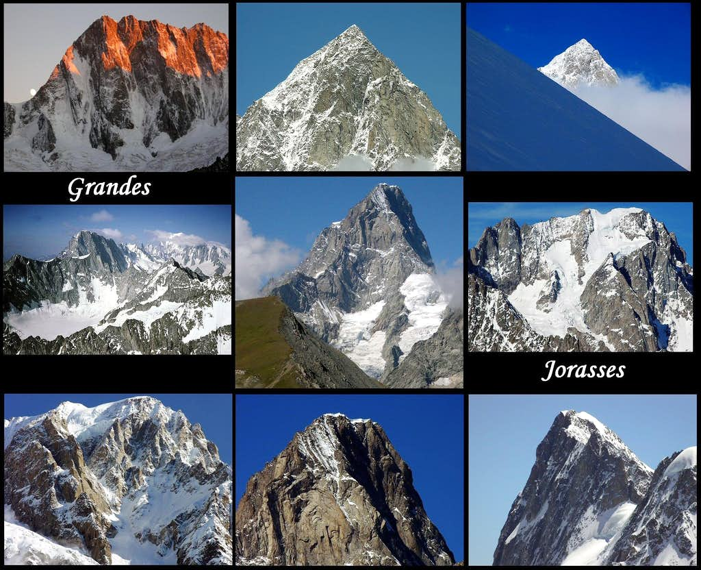 Nine views of the Grandes Jorasses