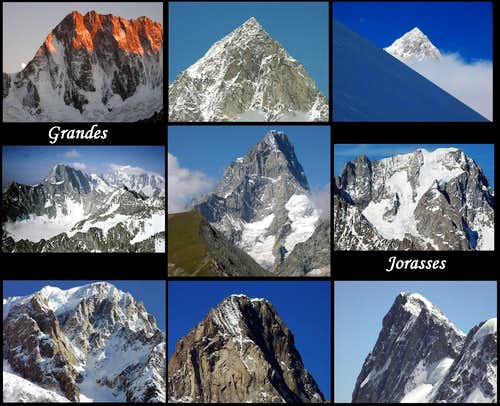 Nine views of the Grandes Jorasses