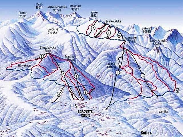 Map of Borovets ski...