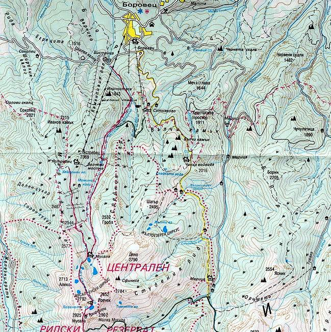 Map of the part of Rila...