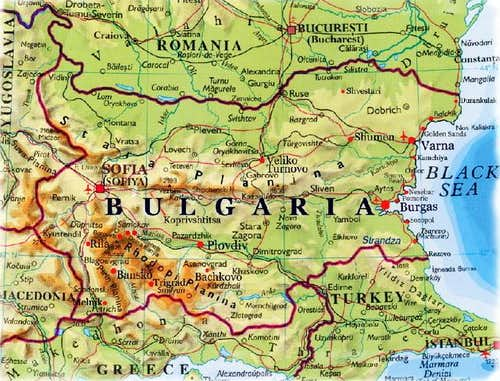 Relief map of Bulgaria . On...