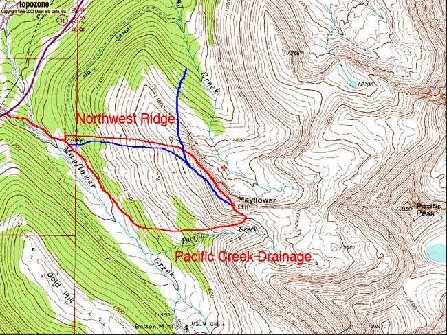Red: Ascent Routes. Blue: Ski...