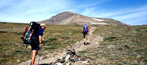 Hiking across meadow from St....