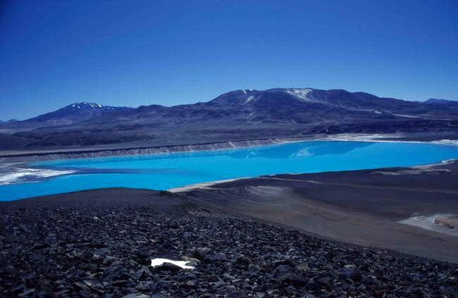 The bluish Laguna Verde.