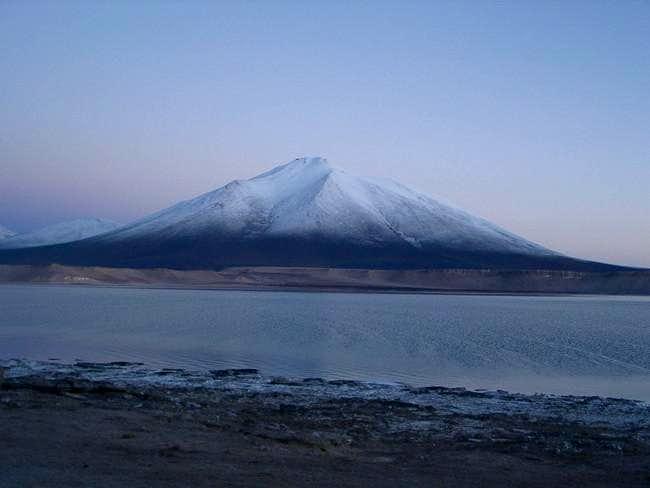 The snow-covered Cerro Laguna...