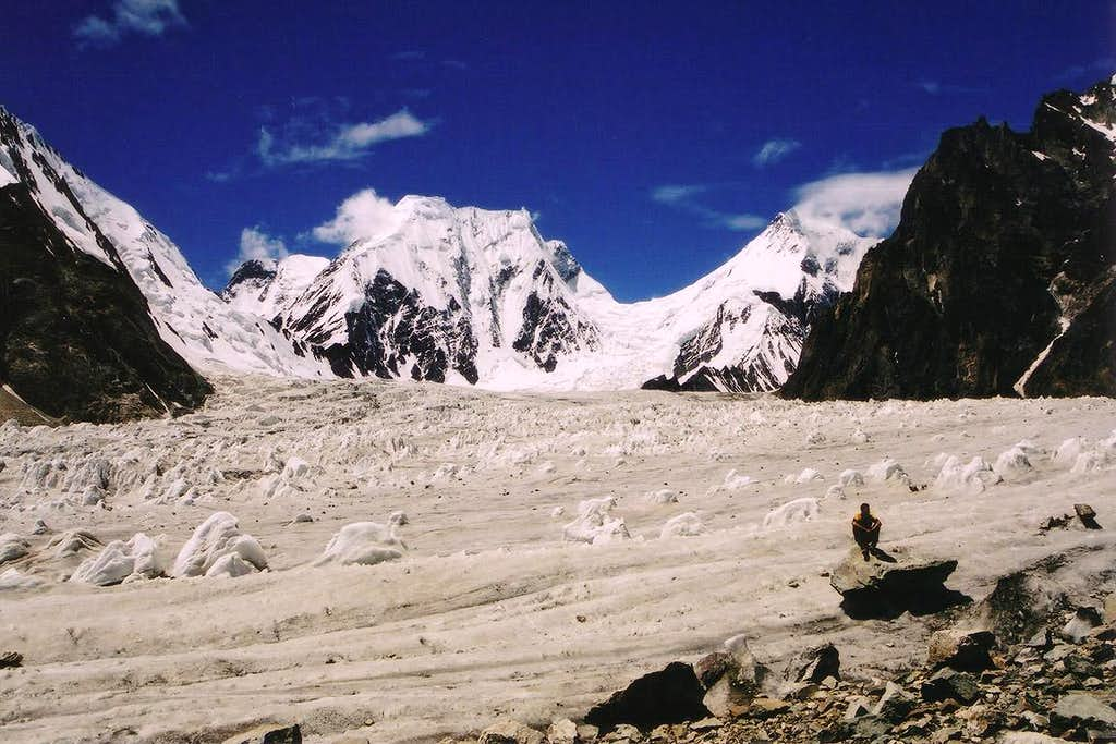 East faces of Praqpa Ri, 7156m (centre-left) & Skil Brum, 7360m (centre-right)
