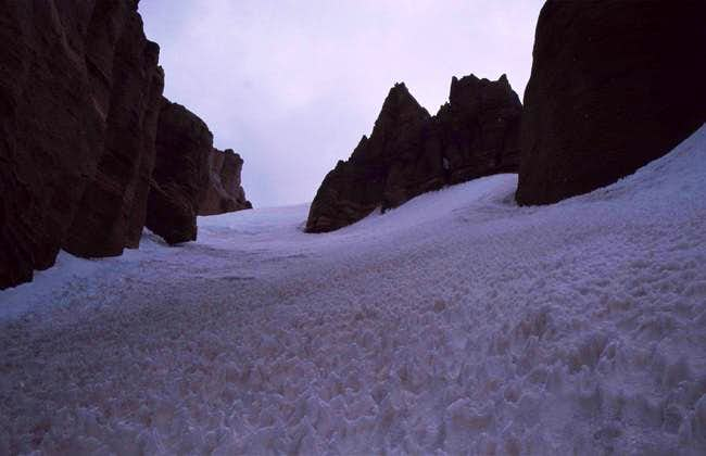 Climbing a gully above the...