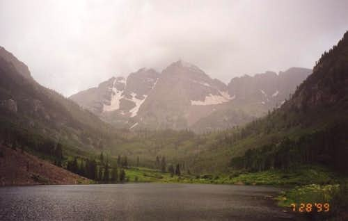 A view of the Maroon Bells on...