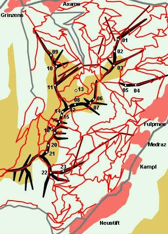 Hand drawn schematic map of...
