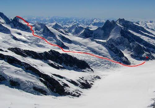 The whole Gross Grünhorn ski...