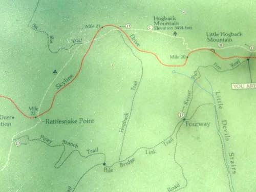 Map of hiking options to...