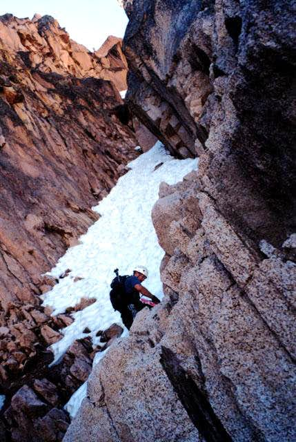 Climbing the Petzoldt Couloir...