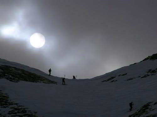 Ski mountaineers on Forcella...