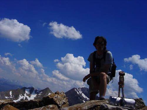 The narrow summit of Agüerri...