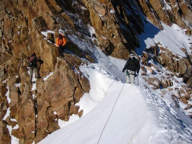 Snow bridge crossing in the...
