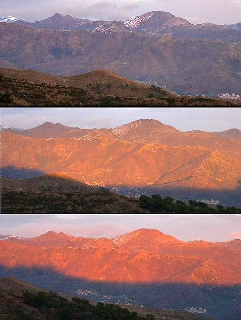 Sunset sequence from the southern route to Diamante