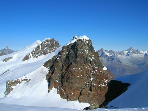 The Breithorn ridge viewed...