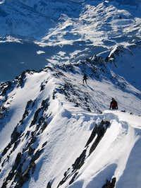 Climbing the ridge near the...