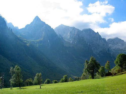 Peaks above left side of...