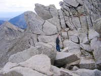 Scrambling boulder ridge just...