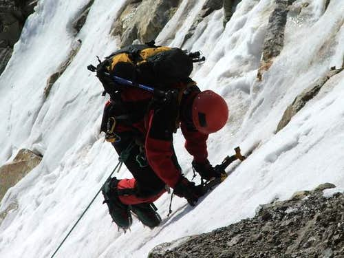 Climbing the icy couloir of...
