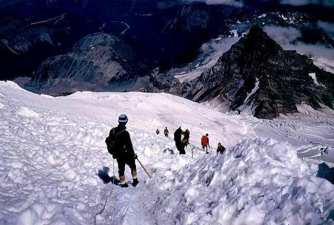 Heading down from the summit...