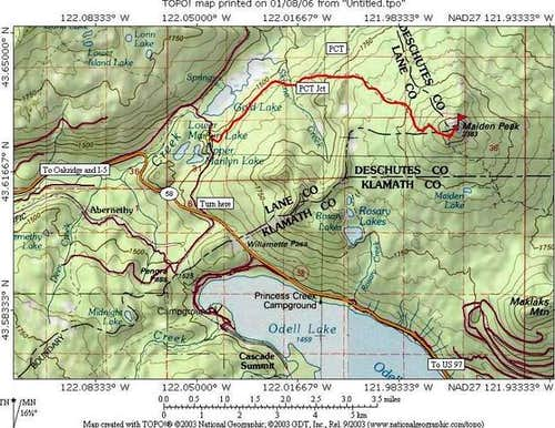 Map of area and trail of...
