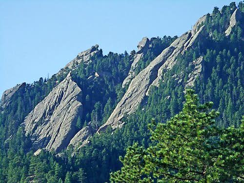 The Central Flatirons from Bluebell Shelter