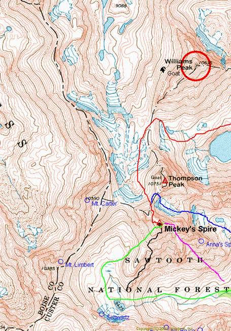 Topo with routes drawn