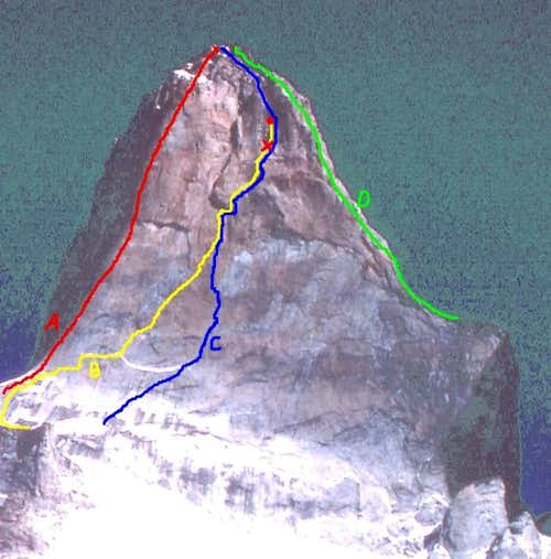 The routes on the South Tower...