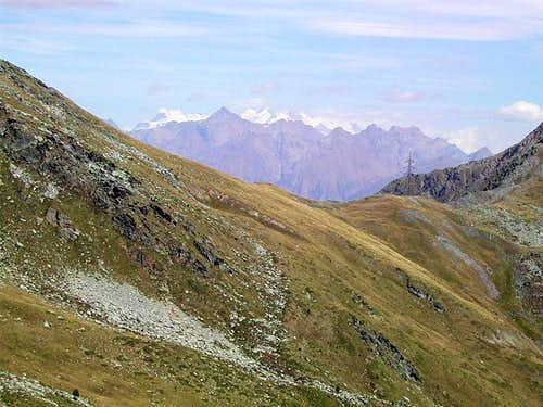 View of the wide saddle of  Colle Citrin
