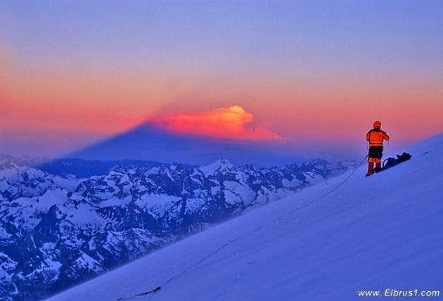 Climbing Elbrus early morning...