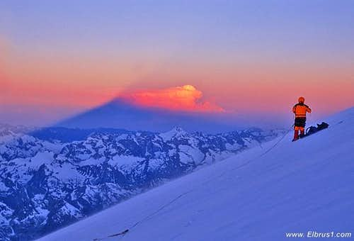 Climbing Elbrus early morning...