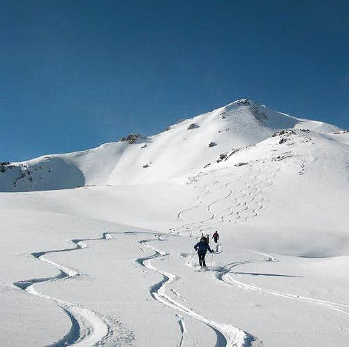Skiing down from Punta...