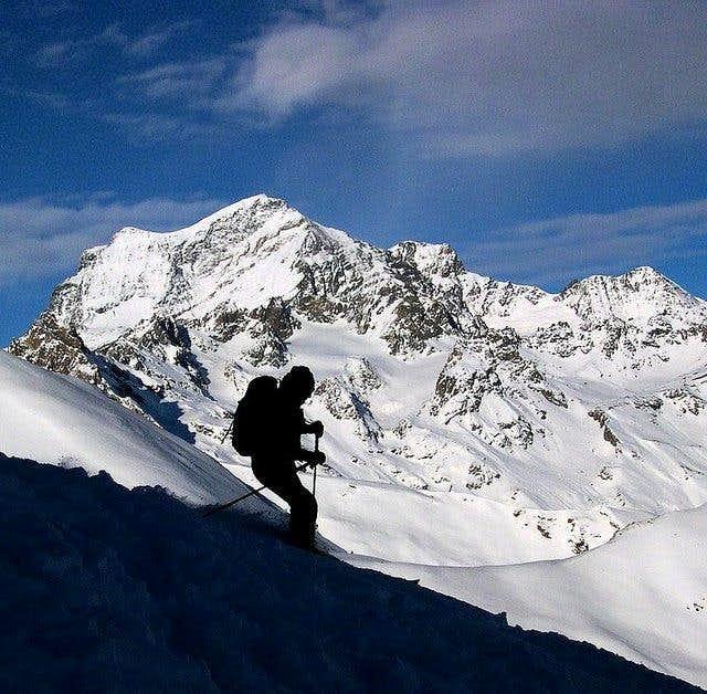 Ski mountaneering in front of...