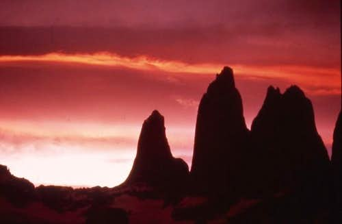 Sunset over Torres del Paine