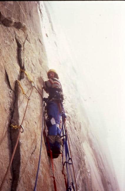 Johnathan Gordon aid climbing...